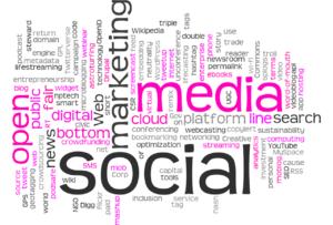 word jumble of social media marketing terms